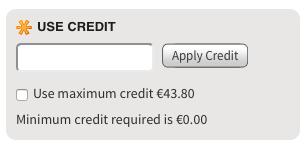 store credit input box